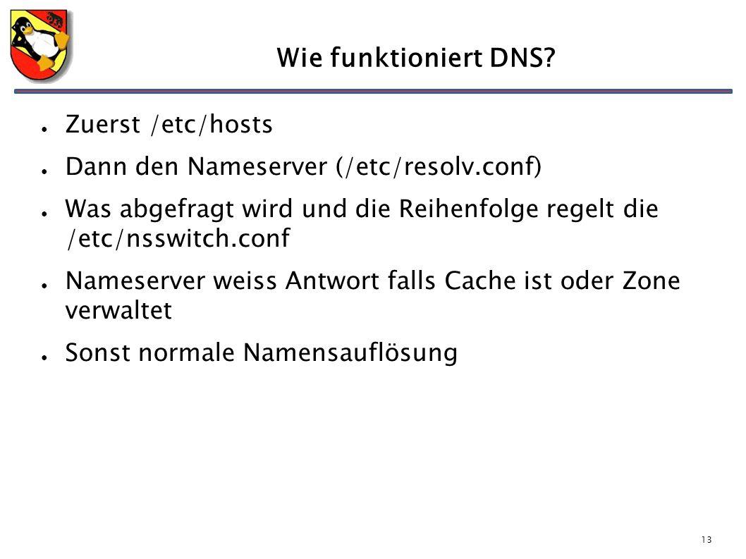 13 Wie funktioniert DNS? ● Zuerst /etc/hosts ● Dann den Nameserver (/etc/resolv.conf) ● Was abgefragt wird und die Reihenfolge regelt die /etc/nsswitc