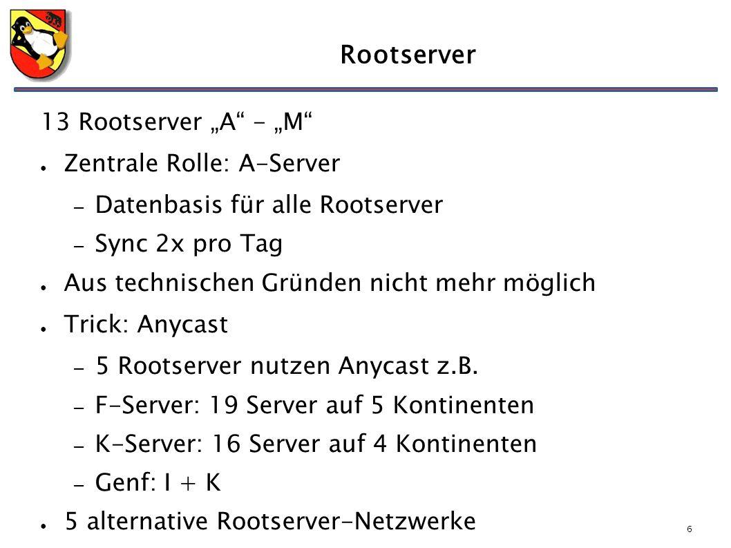 """6 Rootserver 13 Rootserver """"A - """"M ● Zentrale Rolle: A-Server – Datenbasis für alle Rootserver – Sync 2x pro Tag ● Aus technischen Gründen nicht mehr möglich ● Trick: Anycast – 5 Rootserver nutzen Anycast z.B."""
