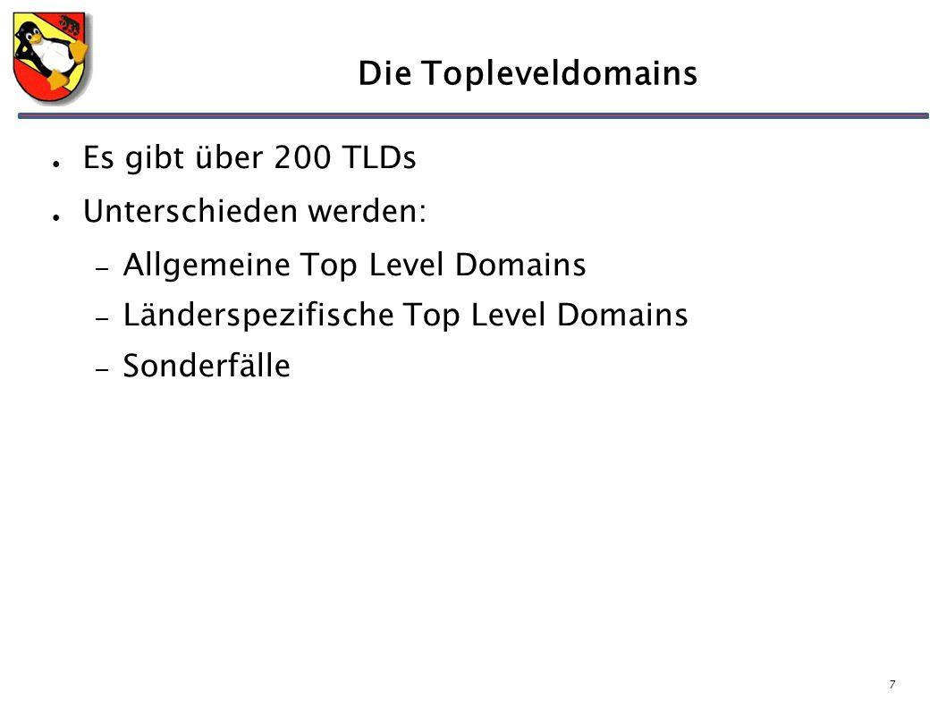 7 Die Topleveldomains ● Es gibt über 200 TLDs ● Unterschieden werden: – Allgemeine Top Level Domains – Länderspezifische Top Level Domains – Sonderfälle