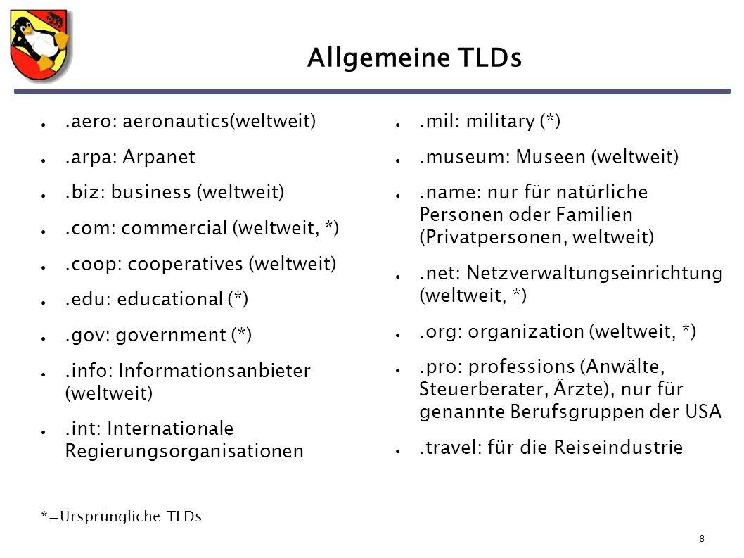 8 Allgemeine TLDs ●.aero: aeronautics(weltweit) ●.arpa: Arpanet ●.biz: business (weltweit) ●.com: commercial (weltweit, *) ●.coop: cooperatives (weltw
