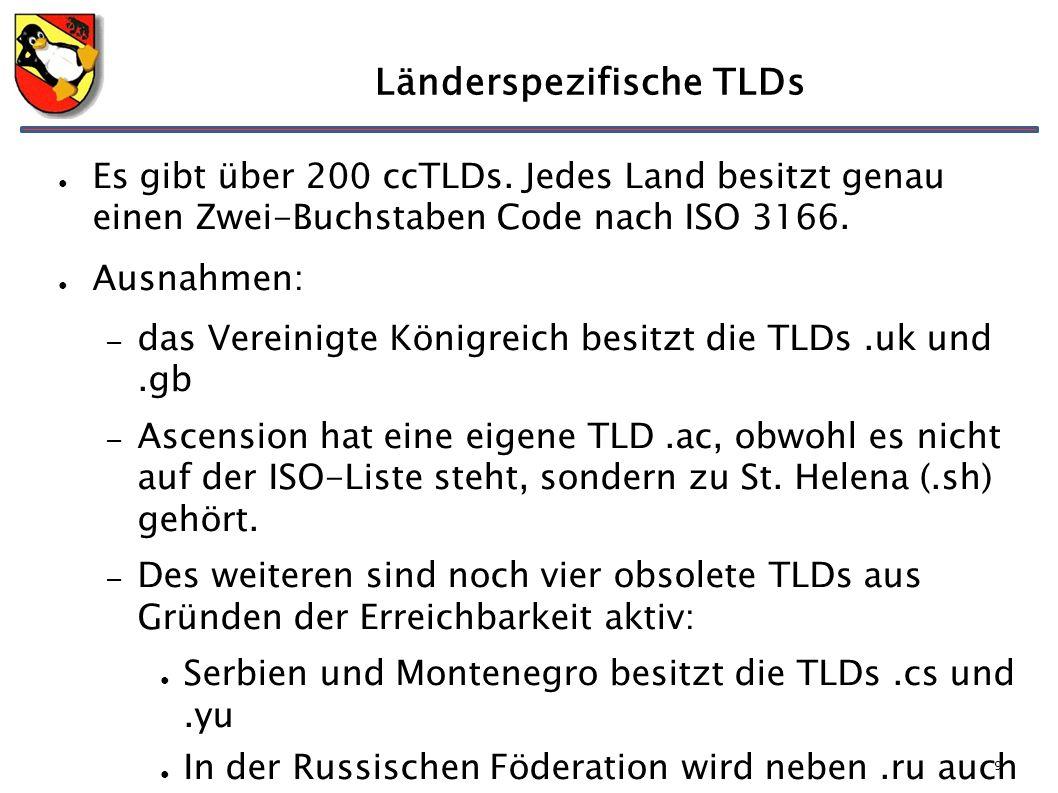 9 Länderspezifische TLDs ● Es gibt über 200 ccTLDs. Jedes Land besitzt genau einen Zwei-Buchstaben Code nach ISO 3166. ● Ausnahmen: – das Vereinigte K