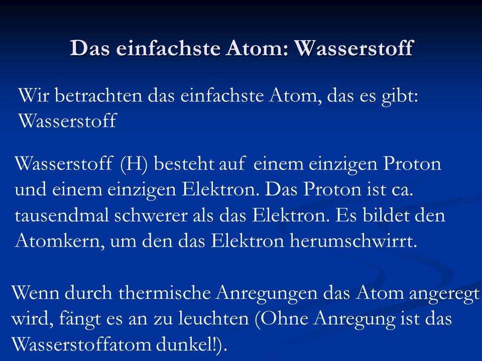 Das einfachste Atom: Wasserstoff Wir betrachten das einfachste Atom, das es gibt: Wasserstoff Wasserstoff (H) besteht auf einem einzigen Proton und einem einzigen Elektron.