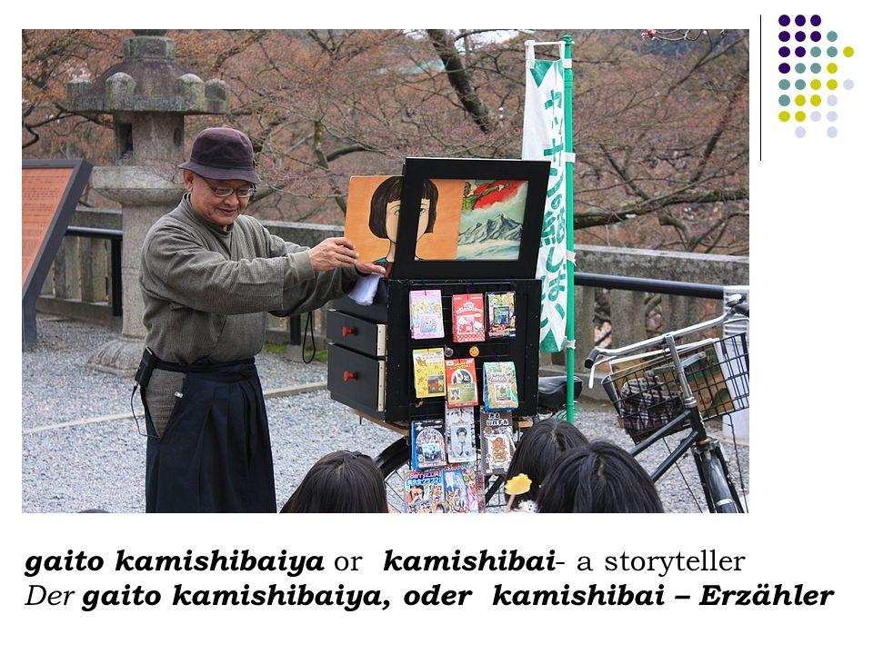 gaito kamishibaiya or kamishibai - a storyteller Der gaito kamishibaiya, oder kamishibai – Erzähler