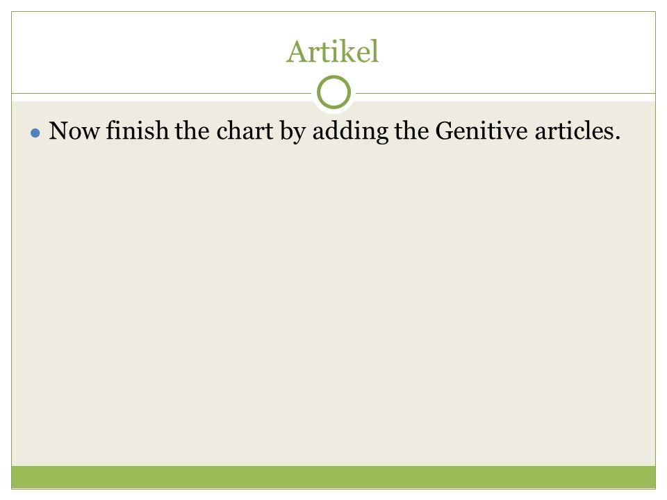 Artikel ● Now finish the chart by adding the Genitive articles.