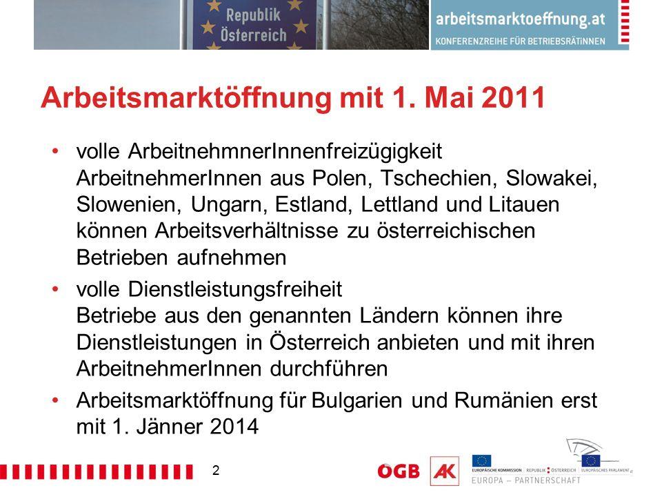 2 Arbeitsmarktöffnung mit 1. Mai 2011 volle ArbeitnehmnerInnenfreizügigkeit ArbeitnehmerInnen aus Polen, Tschechien, Slowakei, Slowenien, Ungarn, Estl