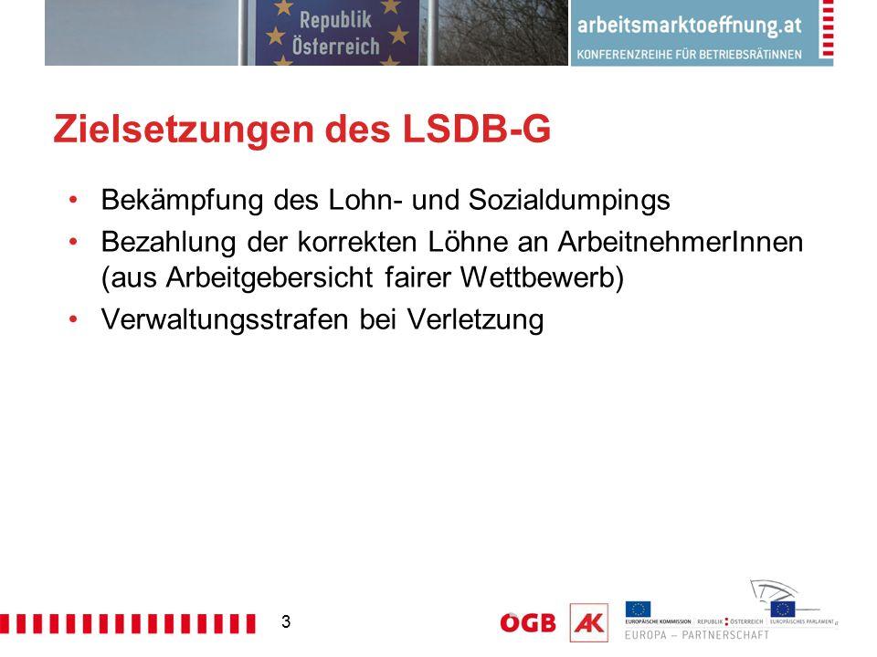 3 Zielsetzungen des LSDB-G Bekämpfung des Lohn- und Sozialdumpings Bezahlung der korrekten Löhne an ArbeitnehmerInnen (aus Arbeitgebersicht fairer Wet
