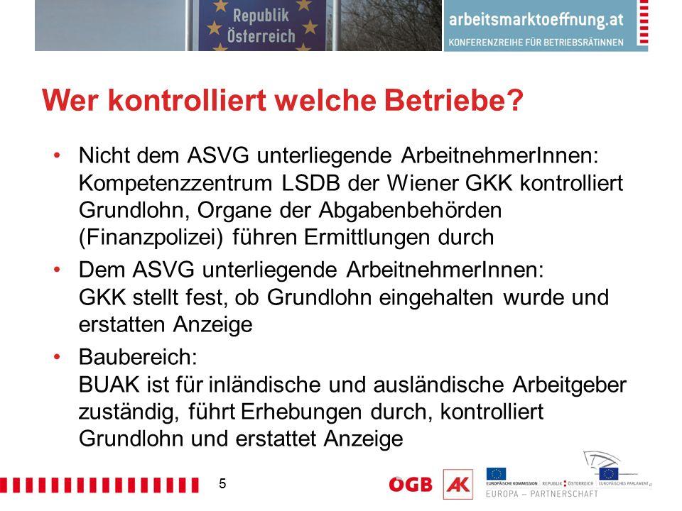 5 Wer kontrolliert welche Betriebe? Nicht dem ASVG unterliegende ArbeitnehmerInnen: Kompetenzzentrum LSDB der Wiener GKK kontrolliert Grundlohn, Organ