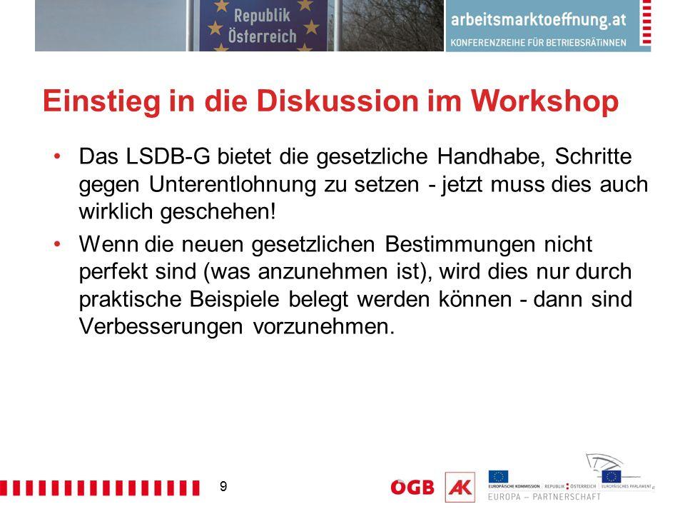 9 Einstieg in die Diskussion im Workshop Das LSDB-G bietet die gesetzliche Handhabe, Schritte gegen Unterentlohnung zu setzen - jetzt muss dies auch w
