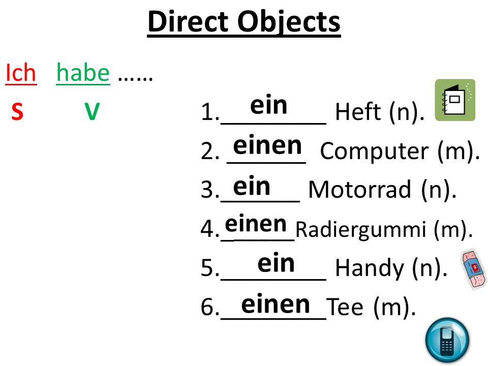 Direct Objects Ich habe …… S V1.________ Heft (n).