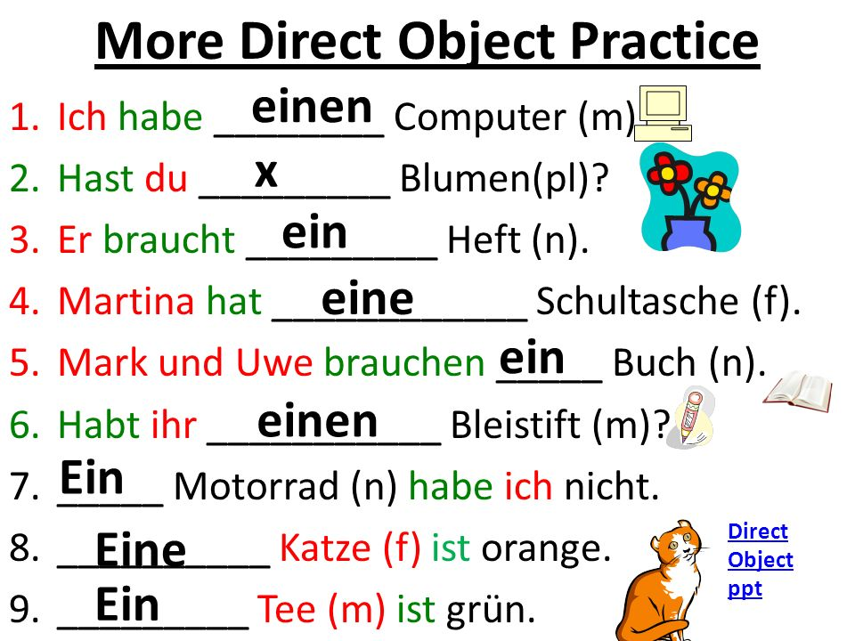 More Direct Object Practice 1.Ich habe ________ Computer (m).