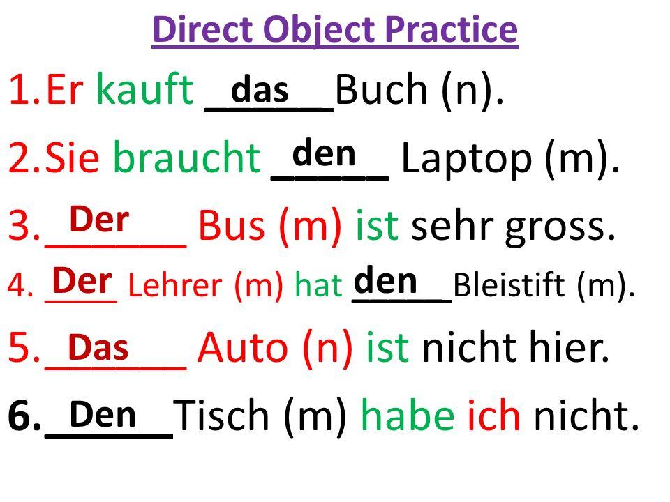 Direct Object Practice 1.Er kauft _____ Buch (n). 2.Sie braucht _____ Laptop (m).