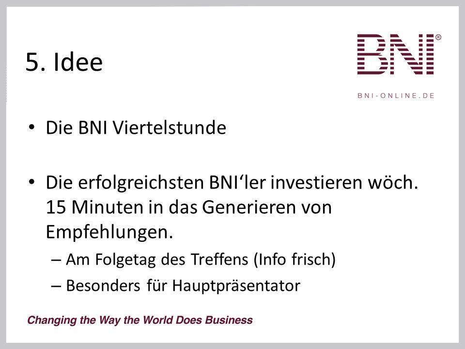 5. Idee Die BNI Viertelstunde Die erfolgreichsten BNI'ler investieren wöch.