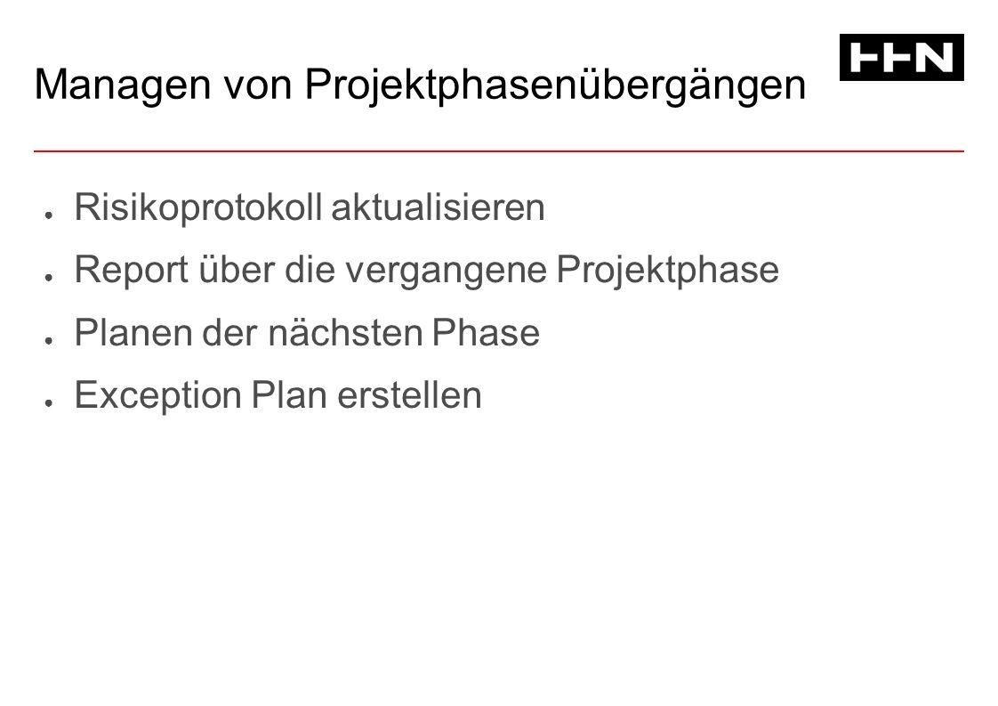Managen von Projektphasenübergängen ● Risikoprotokoll aktualisieren ● Report über die vergangene Projektphase ● Planen der nächsten Phase ● Exception Plan erstellen