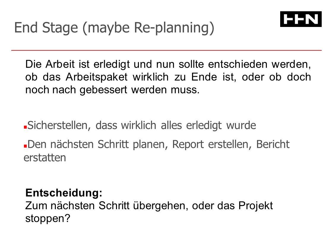 End Stage (maybe Re-planning) Sicherstellen, dass wirklich alles erledigt wurde Den nächsten Schritt planen, Report erstellen, Bericht erstatten Entscheidung: Zum nächsten Schritt übergehen, oder das Projekt stoppen.