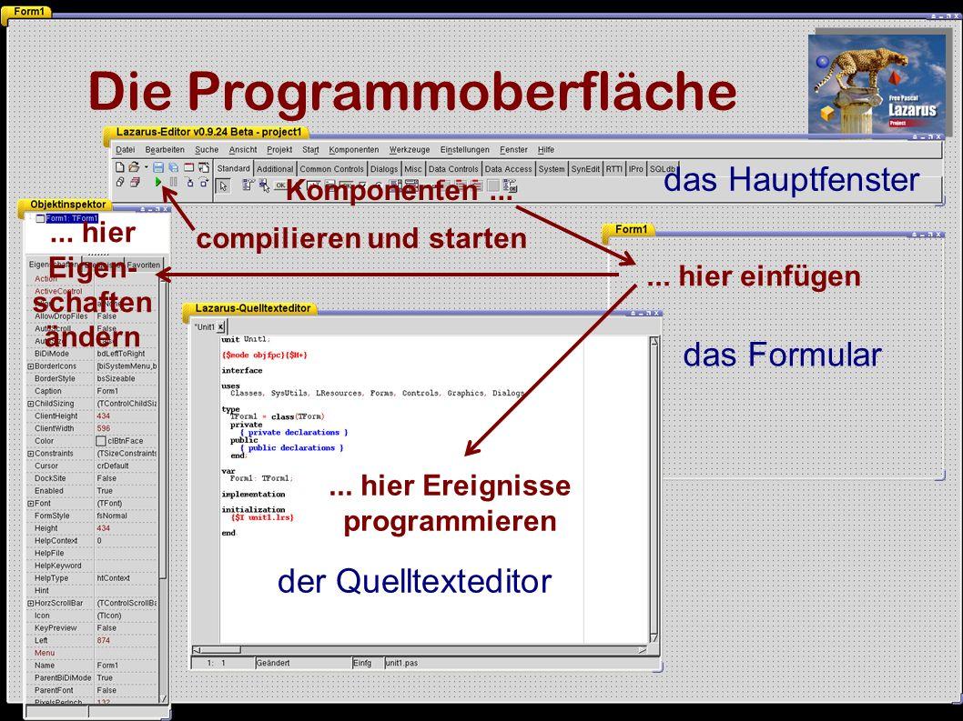 Object-Pascal Ereignis (Knopf 1 drücken) procedure TForm1.Button1Click(Sender: TObject); var a,b:integer; begin a:=strtoint(edit1.Text); b:=a*a; edit2.Text:=inttostr(b) end; Definition der Variablen Anweisungs- block Zuweisung (links ergibt sich aus rechts) Textinhalt eines Eingabefeldes Formatumwandlung (Festkommazahl in Zeichenkette) Semikolon schließt Anweisung ab Berechnung