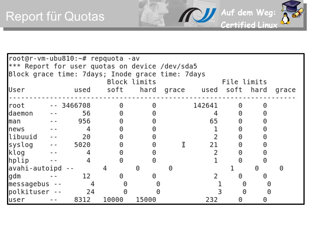 Auf dem Weg: Certified Linux Aufgaben zu Quotas Nehmen Sie Quotas z.B.