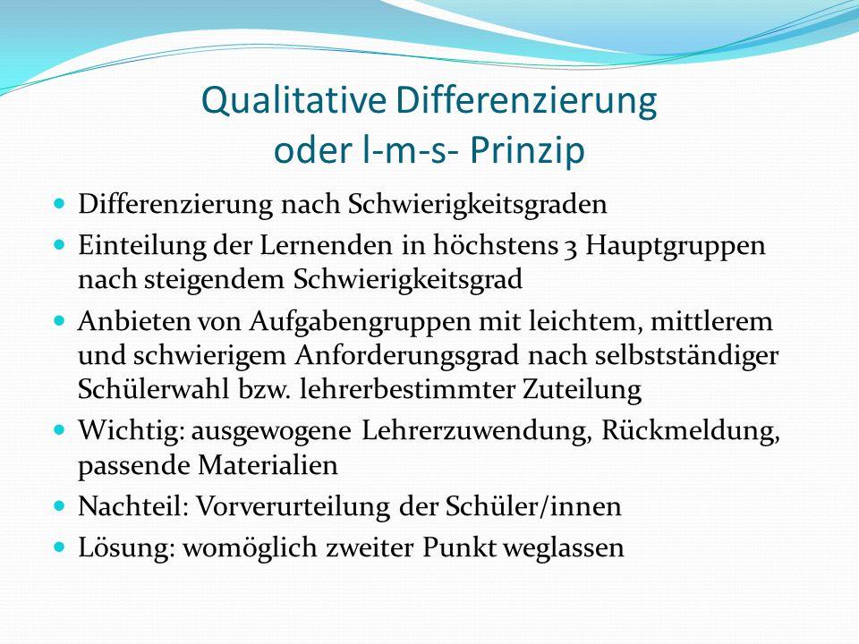 Qualitative Differenzierung oder l-m-s- Prinzip Differenzierung nach Schwierigkeitsgraden Einteilung der Lernenden in höchstens 3 Hauptgruppen nach steigendem Schwierigkeitsgrad Anbieten von Aufgabengruppen mit leichtem, mittlerem und schwierigem Anforderungsgrad nach selbstständiger Schülerwahl bzw.