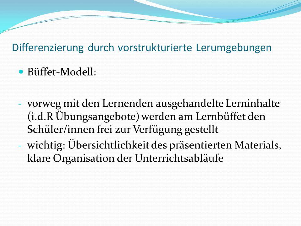 Differenzierung durch vorstrukturierte Lerumgebungen Büffet-Modell: - vorweg mit den Lernenden ausgehandelte Lerninhalte (i.d.R Übungsangebote) werden am Lernbüffet den Schüler/innen frei zur Verfügung gestellt - wichtig: Übersichtlichkeit des präsentierten Materials, klare Organisation der Unterrichtsabläufe