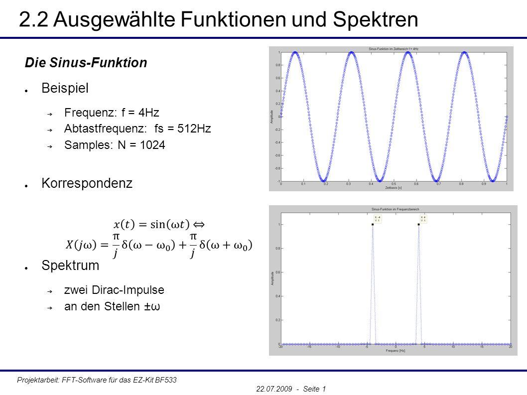 2.2 Ausgewählte Funktionen und Spektren Projektarbeit: FFT-Software für das EZ-Kit BF533 22.07.2009 - Seite 1 Die Sinus-Funktion ● Beispiel ➔ Frequenz