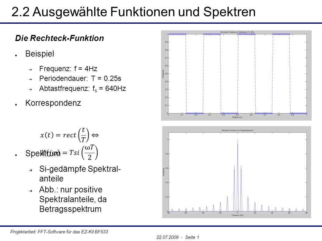 2.2 Ausgewählte Funktionen und Spektren Projektarbeit: FFT-Software für das EZ-Kit BF533 22.07.2009 - Seite 1 Die Rechteck-Funktion ● Beispiel ➔ Frequenz: f = 4Hz ➔ Periodendauer: T = 0.25s ➔ Abtastfrequenz: f s = 640Hz ● Korrespondenz ● Spektrum ➔ Si-gedämpfe Spektral- anteile ➔ Abb.: nur positive Spektralanteile, da Betragsspektrum