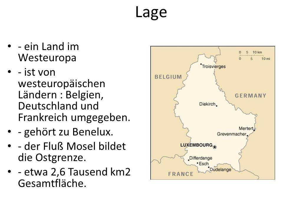 Lage - ein Land im Westeuropa - ist von westeuropäischen Ländern : Belgien, Deutschland und Frankreich umgegeben.