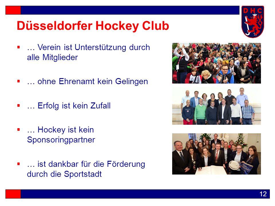 12 Düsseldorfer Hockey Club  … Verein ist Unterstützung durch alle Mitglieder  … ohne Ehrenamt kein Gelingen  … Erfolg ist kein Zufall  … Hockey ist kein Sponsoringpartner  … ist dankbar für die Förderung durch die Sportstadt