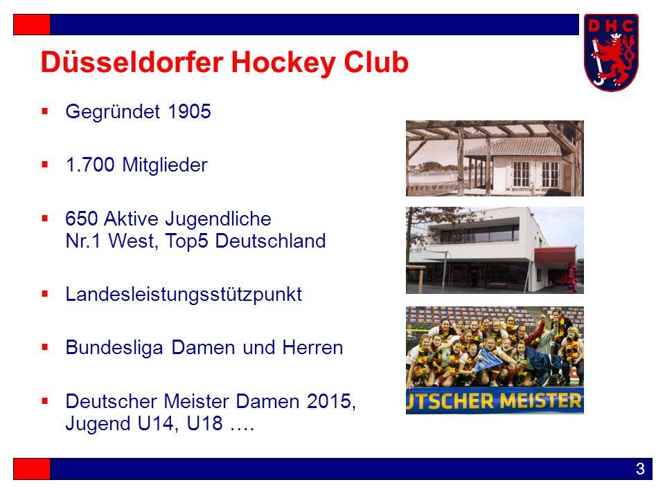 3 Düsseldorfer Hockey Club  Gegründet 1905  1.700 Mitglieder  650 Aktive Jugendliche Nr.1 West, Top5 Deutschland  Landesleistungsstützpunkt  Bundesliga Damen und Herren  Deutscher Meister Damen 2015, Jugend U14, U18 ….