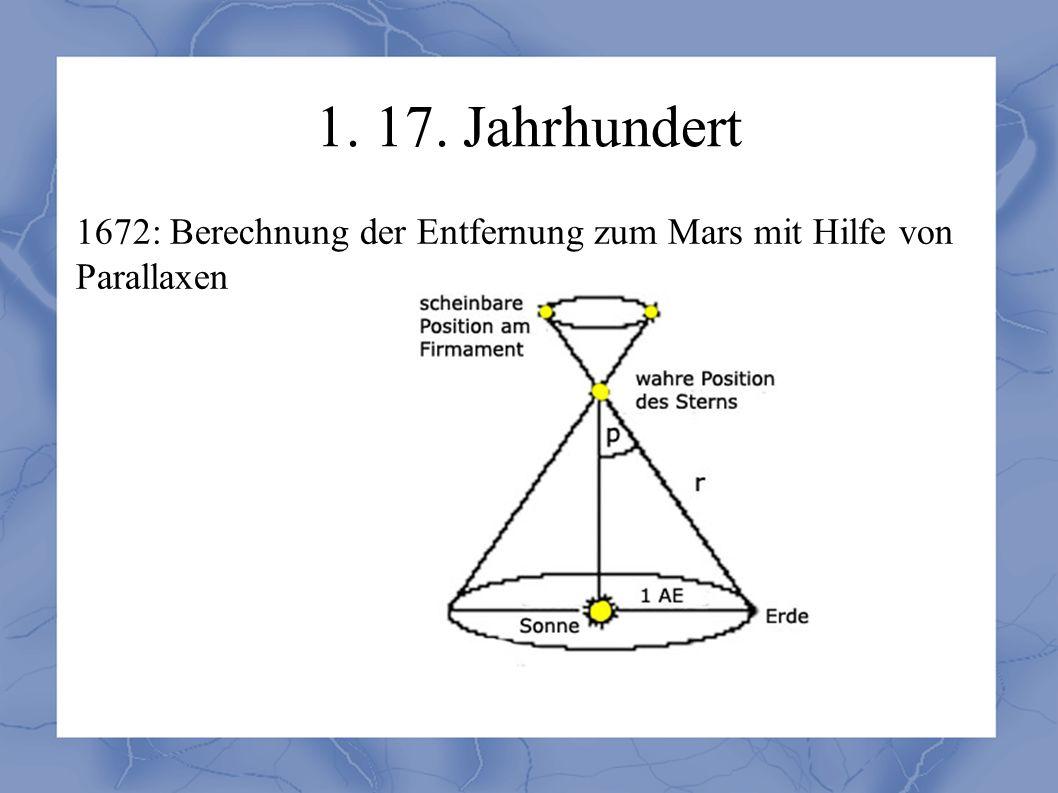 1. 17. Jahrhundert 1672: Berechnung der Entfernung zum Mars mit Hilfe von Parallaxen