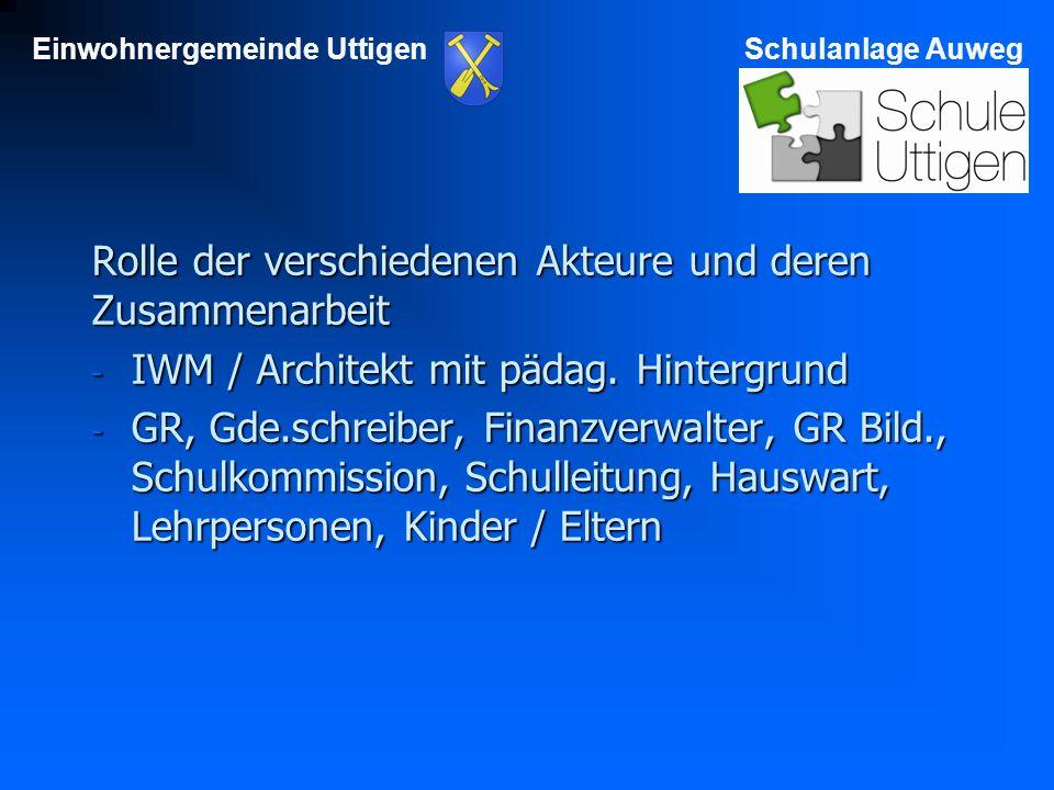 Einwohnergemeinde UttigenSchulanlage Auweg Rolle der verschiedenen Akteure und deren Zusammenarbeit - IWM / Architekt mit pädag.