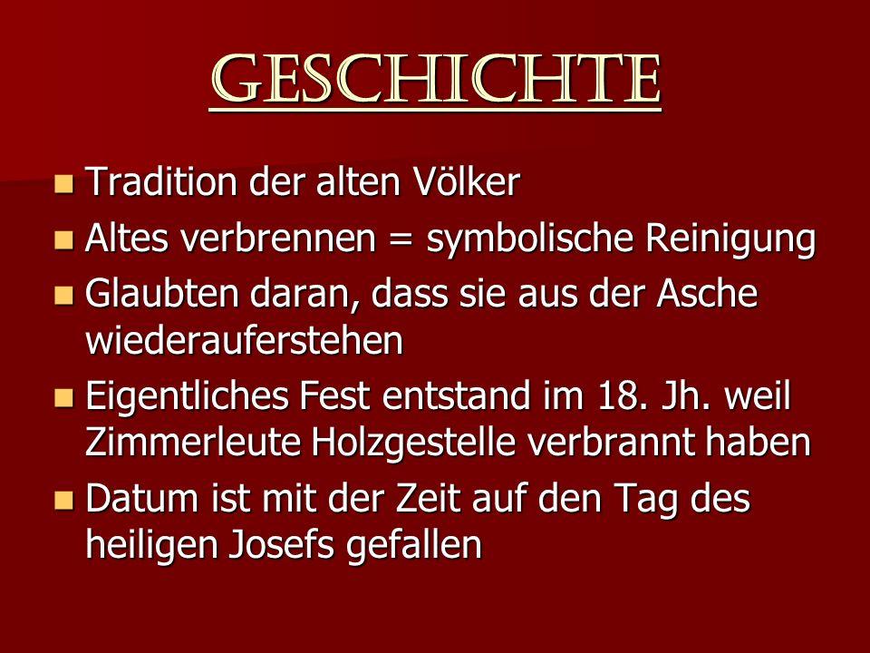 Geschichte Tradition der alten Völker Altes verbrennen = symbolische Reinigung Glaubten daran, dass sie aus der Asche wiederauferstehen Eigentliches Fest entstand im 18.