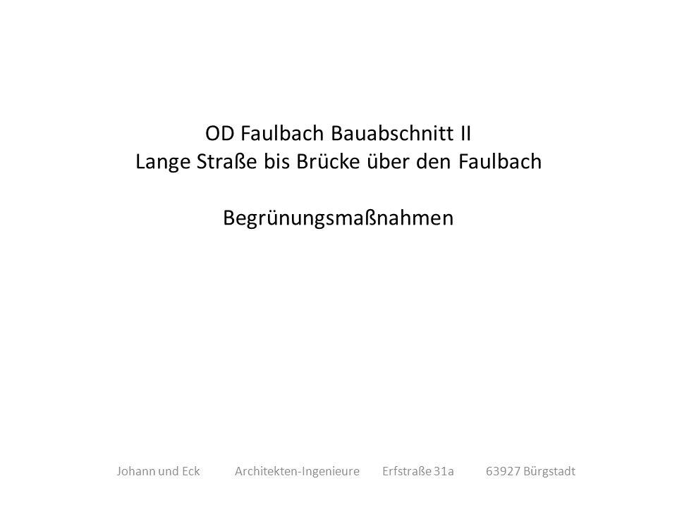 OD Faulbach Bauabschnitt II Lange Straße bis Brücke über den Faulbach Begrünungsmaßnahmen Johann und Eck Architekten-Ingenieure Erfstraße 31a 63927 Bürgstadt