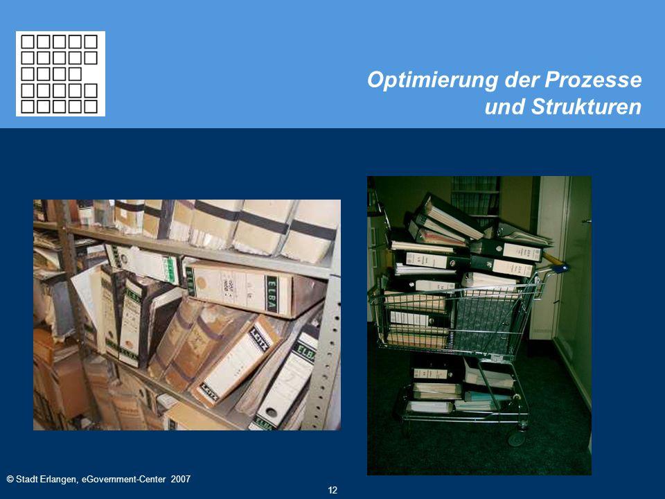 © Stadt Erlangen, eGovernment-Center 2007 12 Optimierung der Prozesse und Strukturen