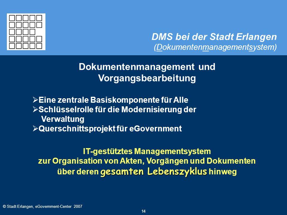 © Stadt Erlangen, eGovernment-Center 2007 14 DMS bei der Stadt Erlangen (Dokumentenmanagementsystem) Dokumentenmanagement und Vorgangsbearbeitung  Ei