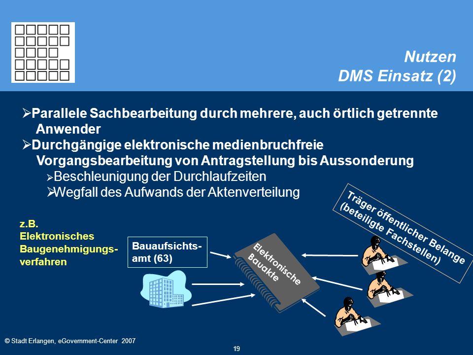 © Stadt Erlangen, eGovernment-Center 2007 19 Nutzen DMS Einsatz (2)  Parallele Sachbearbeitung durch mehrere, auch örtlich getrennte Anwender  Durchgängige elektronische medienbruchfreie Vorgangsbearbeitung von Antragstellung bis Aussonderung  Beschleunigung der Durchlaufzeiten  Wegfall des Aufwands der Aktenverteilung Träger öffentlicher Belange (beteiligte Fachstellen) Elektronische Bauakte Bauaufsichts- amt (63) z.B.