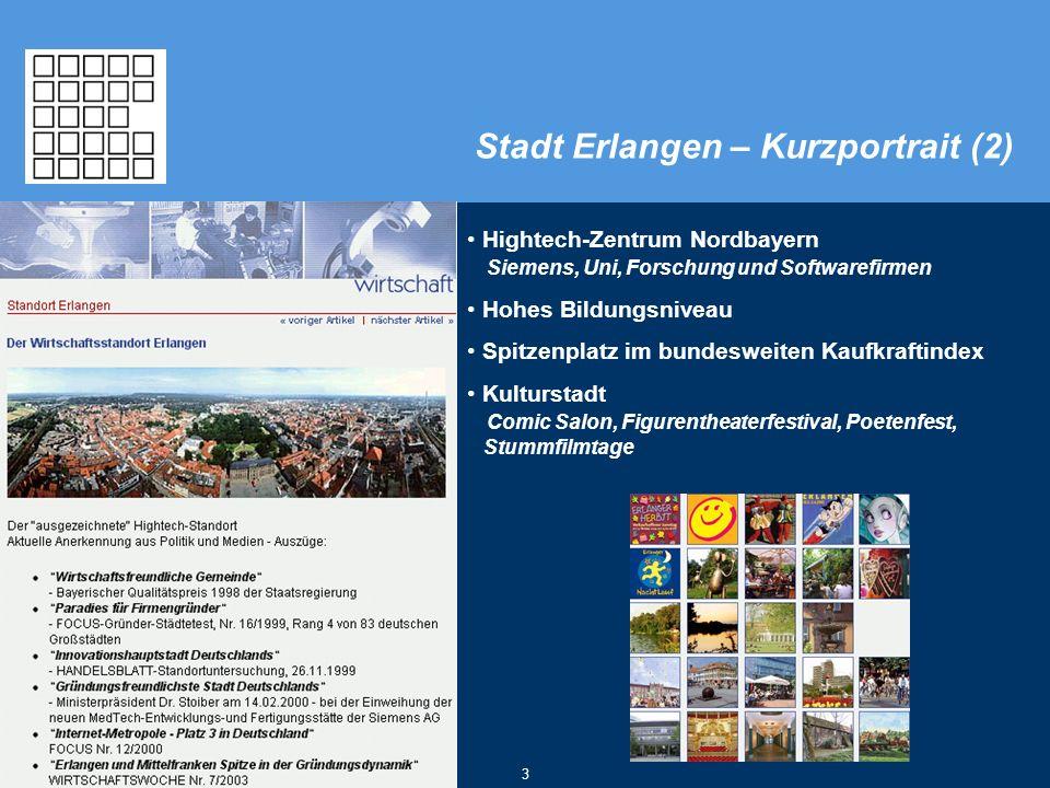 © Stadt Erlangen, eGovernment-Center 2007 3 Hightech-Zentrum Nordbayern Siemens, Uni, Forschung und Softwarefirmen Hohes Bildungsniveau Spitzenplatz i