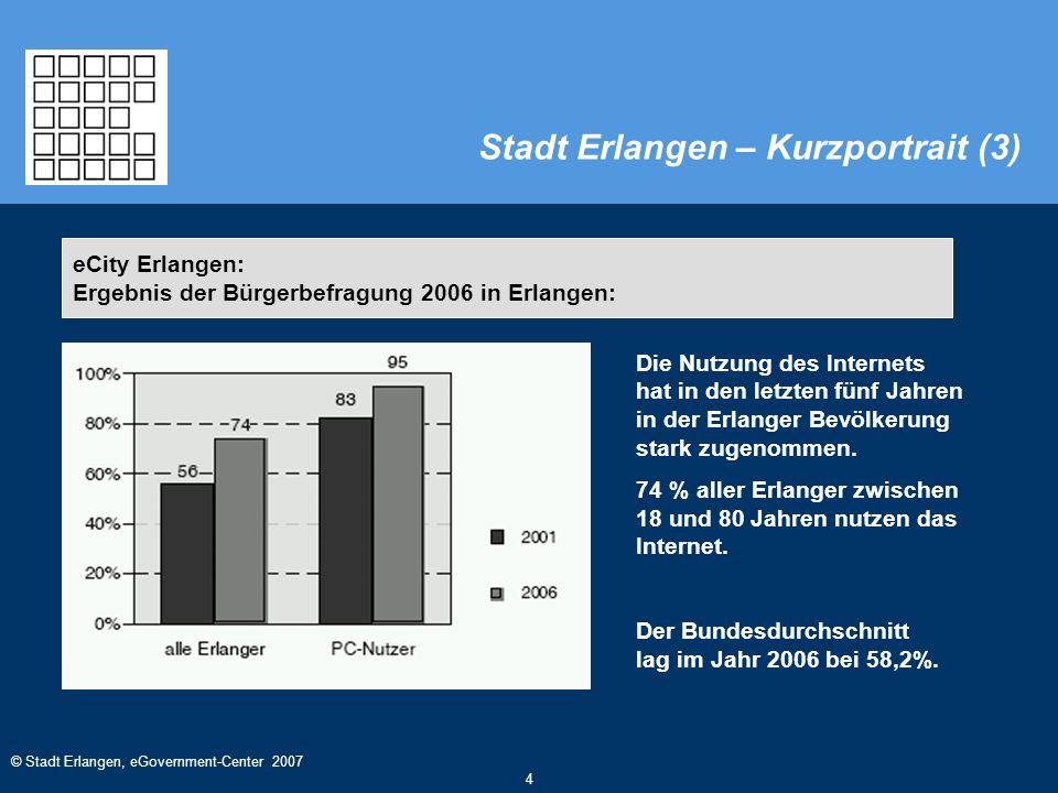 © Stadt Erlangen, eGovernment-Center 2007 4 Die Nutzung des Internets hat in den letzten fünf Jahren in der Erlanger Bevölkerung stark zugenommen. 74