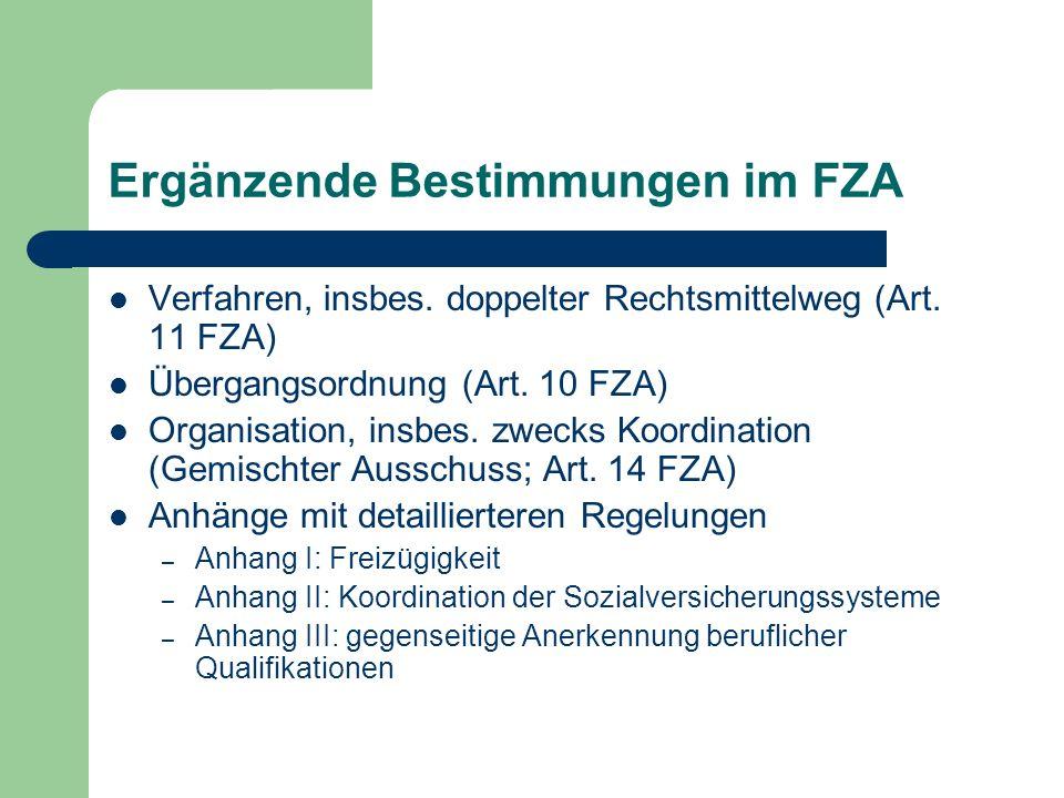 Ergänzende Bestimmungen im FZA Verfahren, insbes. doppelter Rechtsmittelweg (Art. 11 FZA) Übergangsordnung (Art. 10 FZA) Organisation, insbes. zwecks