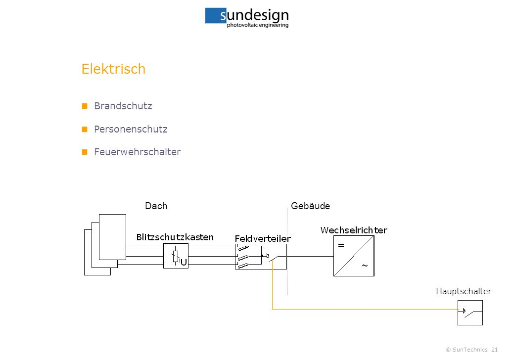 © SunTechnics21 Elektrisch Brandschutz Personenschutz Feuerwehrschalter DachGebäude Hauptschalter