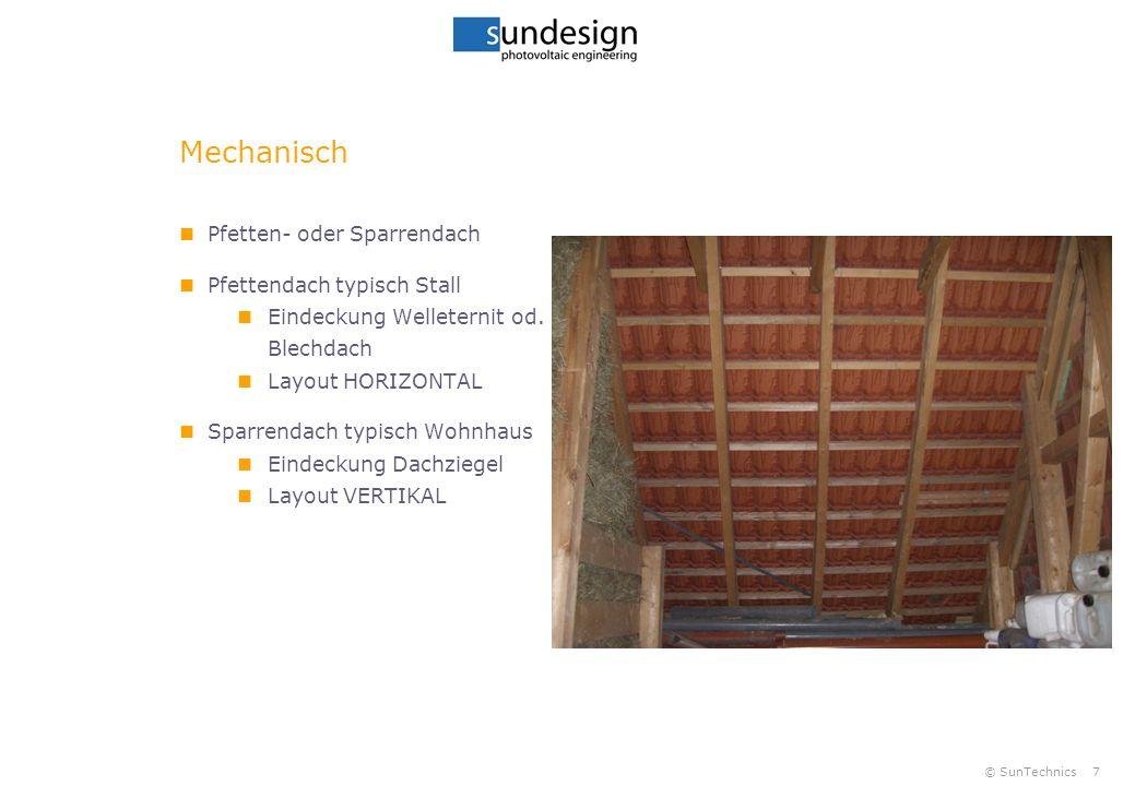 © SunTechnics7 Mechanisch Pfetten- oder Sparrendach Pfettendach typisch Stall Eindeckung Welleternit od. Blechdach Layout HORIZONTAL Sparrendach typis