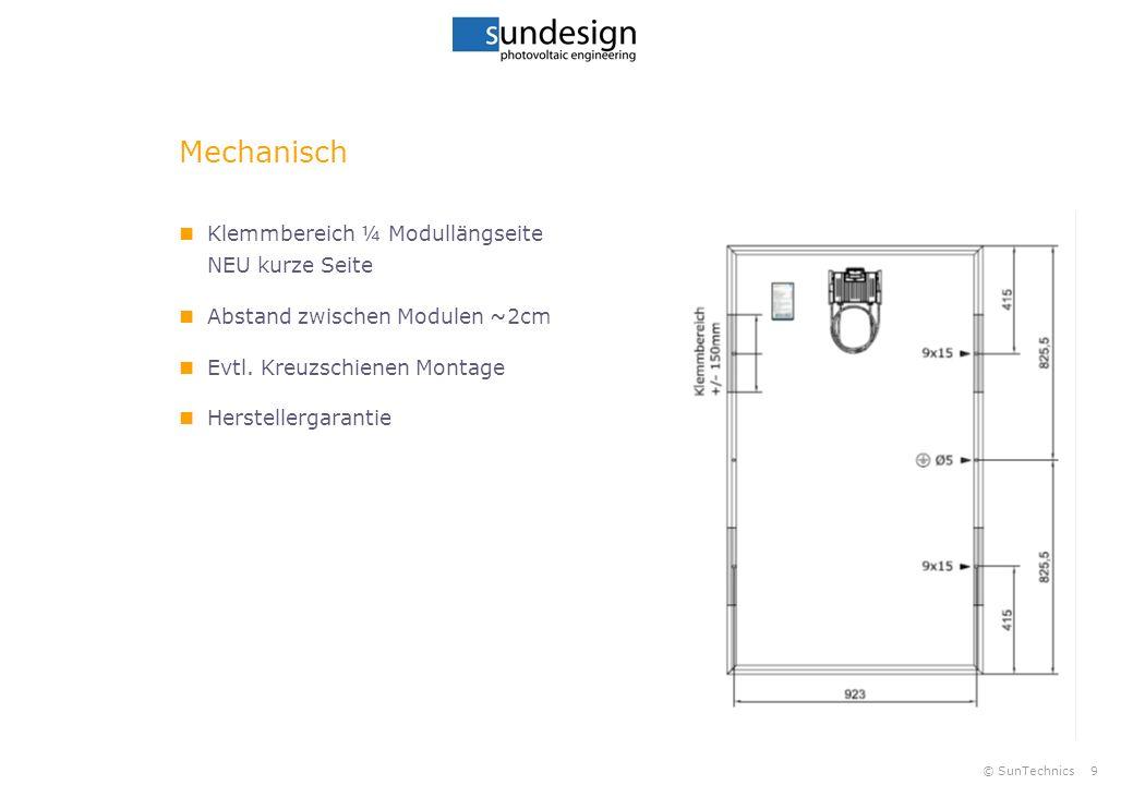 © SunTechnics9 Mechanisch Klemmbereich ¼ Modullängseite NEU kurze Seite Abstand zwischen Modulen ~2cm Evtl. Kreuzschienen Montage Herstellergarantie