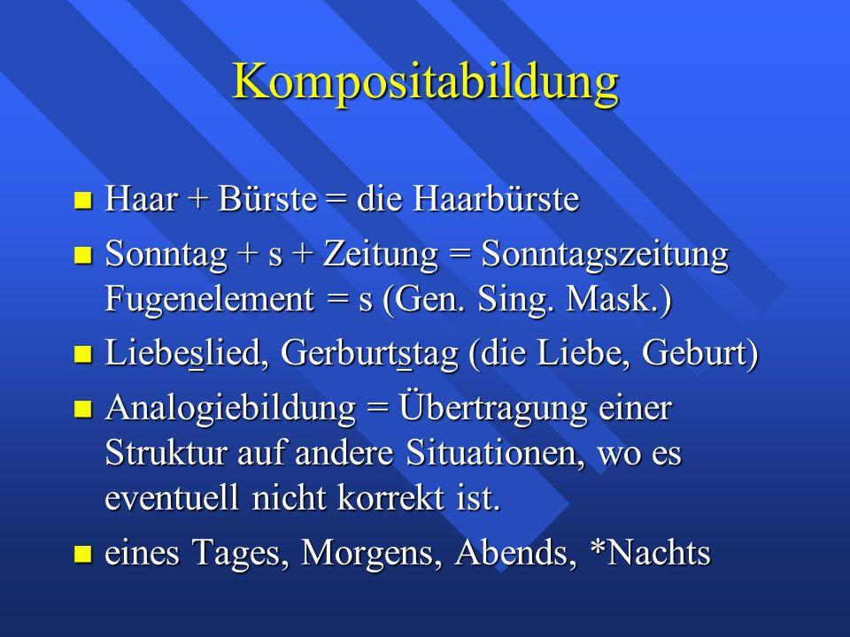 Kompositabildung Haar + Bürste = die Haarbürste Haar + Bürste = die Haarbürste Sonntag + s + Zeitung = Sonntagszeitung Fugenelement = s (Gen.