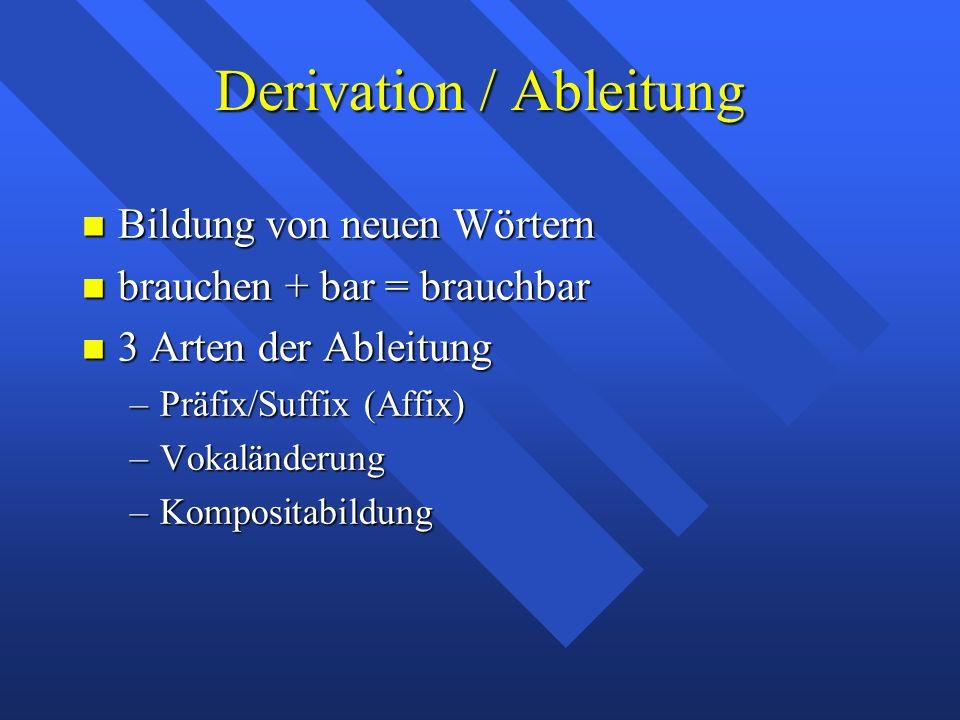 Derivation / Ableitung Bildung von neuen Wörtern Bildung von neuen Wörtern brauchen + bar = brauchbar brauchen + bar = brauchbar 3 Arten der Ableitung 3 Arten der Ableitung –Präfix/Suffix (Affix) –Vokaländerung –Kompositabildung