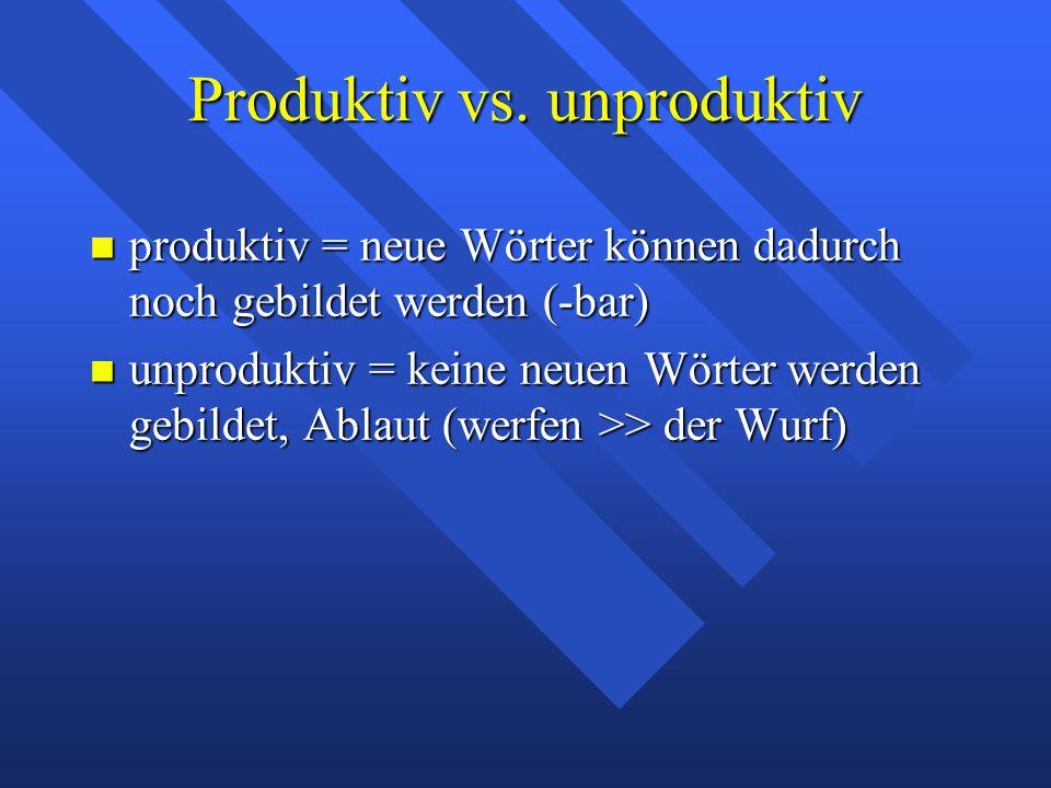 Derivation von Substantiven Suffixe: Suffixe: -chen, -lein,sehr produktiv -chen, -lein,sehr produktiv -e unproduktiv (pflegen >> Pflege) -e unproduktiv (pflegen >> Pflege) ei, erei (F) produktiv, pejorativ (Fragerei) ei, erei (F) produktiv, pejorativ (Fragerei) -er, -ler (M) einige pejorativ (Profitler) -er, -ler (M) einige pejorativ (Profitler) Frankfurt(er), Hannover(aner) Bremer Frankfurt(er), Hannover(aner) Bremer -ling (M) leicht pejorativ (Feigling) -ling (M) leicht pejorativ (Feigling)