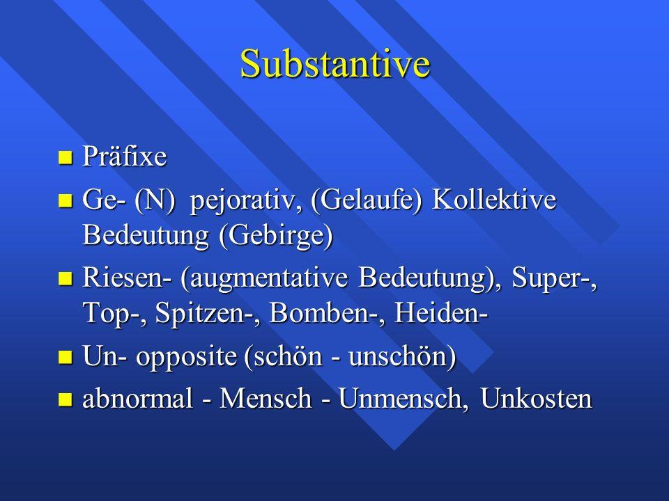 Substantive Präfixe Präfixe Ge- (N) pejorativ, (Gelaufe) Kollektive Bedeutung (Gebirge) Ge- (N) pejorativ, (Gelaufe) Kollektive Bedeutung (Gebirge) Riesen- (augmentative Bedeutung), Super-, Top-, Spitzen-, Bomben-, Heiden- Riesen- (augmentative Bedeutung), Super-, Top-, Spitzen-, Bomben-, Heiden- Un- opposite (schön - unschön) Un- opposite (schön - unschön) abnormal - Mensch - Unmensch, Unkosten abnormal - Mensch - Unmensch, Unkosten