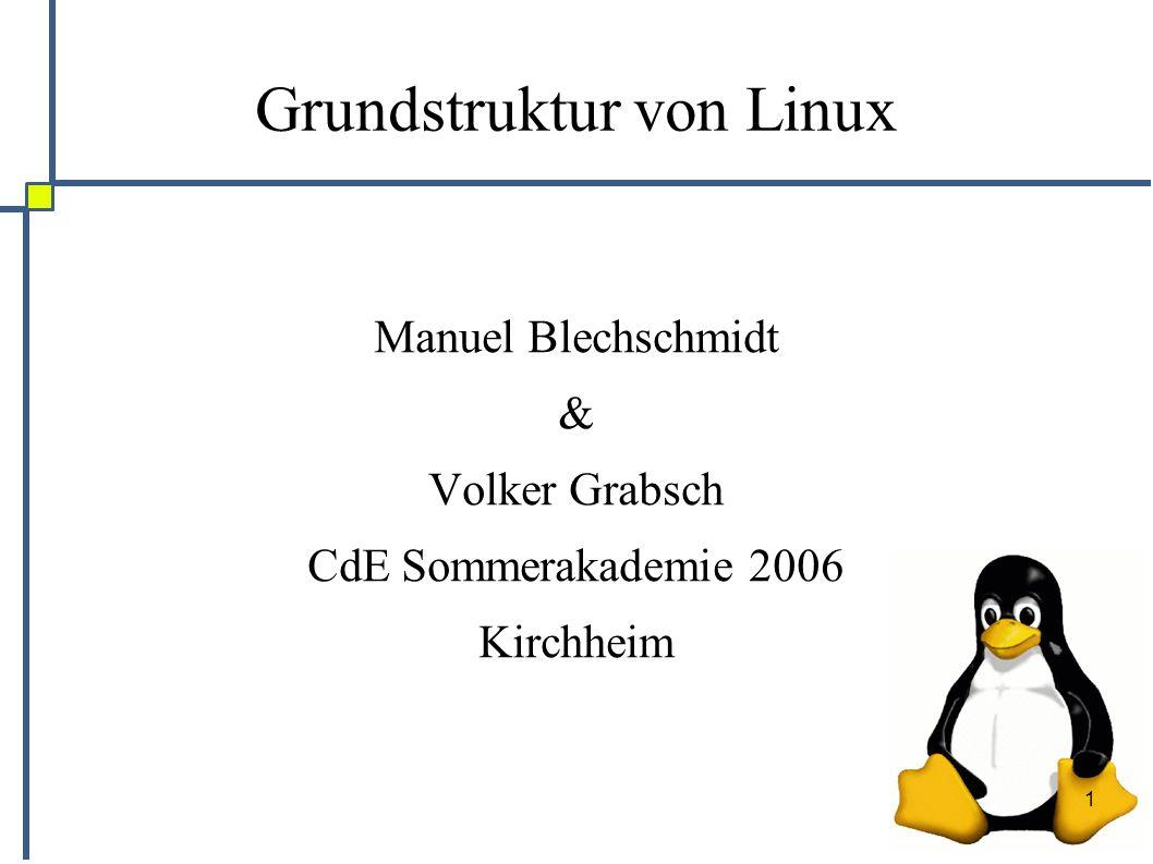 1 Grundstruktur von Linux Manuel Blechschmidt & Volker Grabsch CdE Sommerakademie 2006 Kirchheim