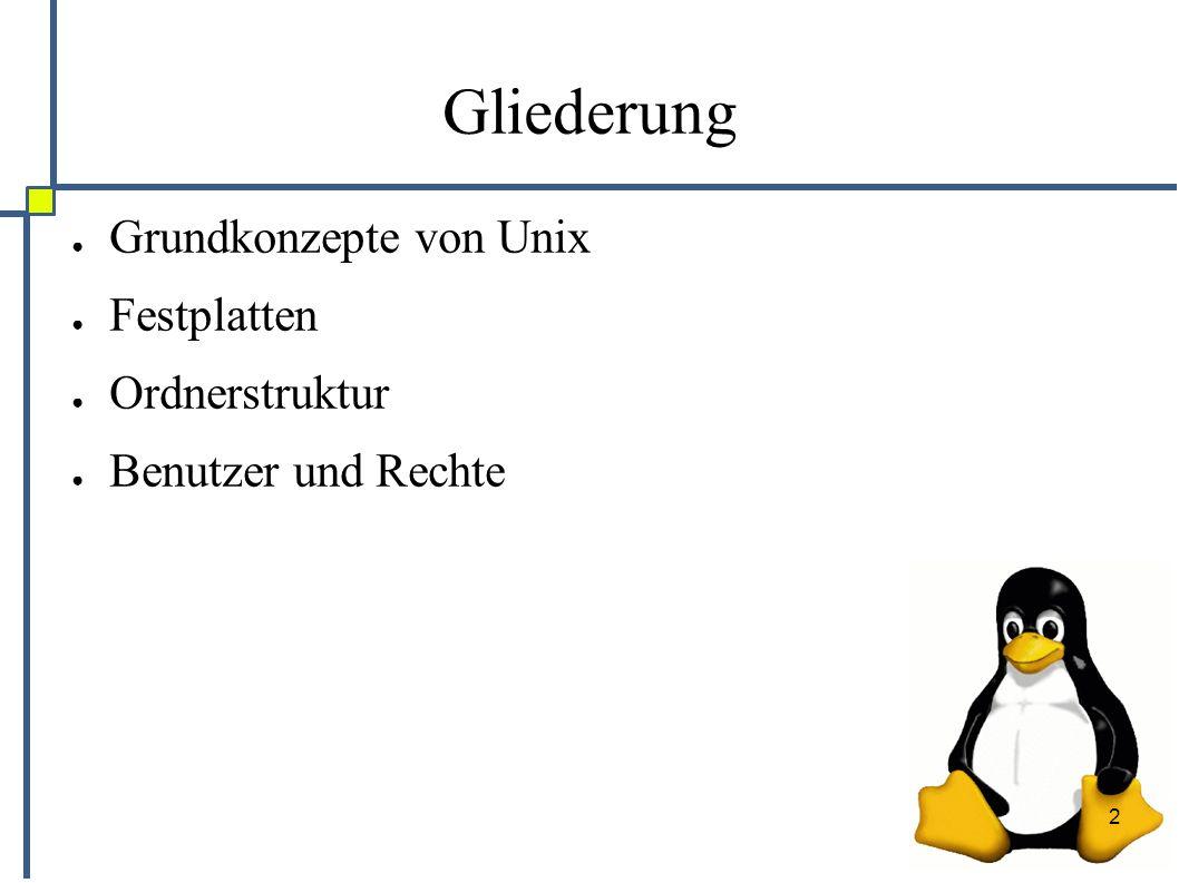 2 Gliederung ● Grundkonzepte von Unix ● Festplatten ● Ordnerstruktur ● Benutzer und Rechte
