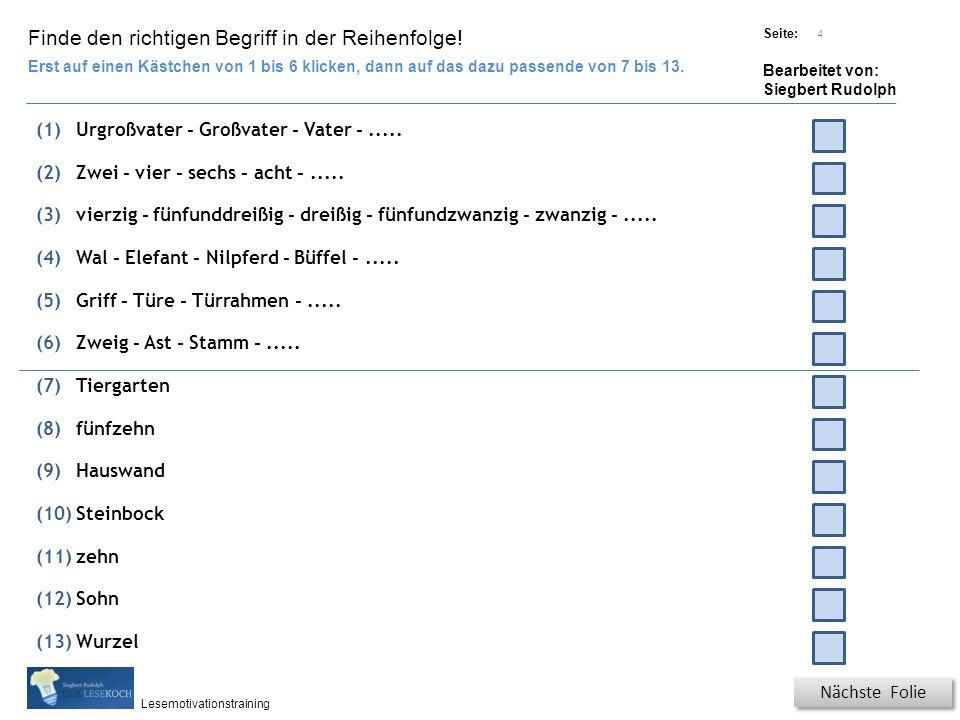 Übungsart: Titel: Quelle: Seite: Bearbeitet von: Siegbert Rudolph Lesemotivationstraining 4 Finde den richtigen Begriff in der Reihenfolge.