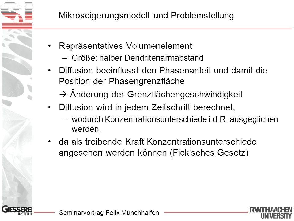 Seminarvortrag Felix Münchhalfen Mikroseigerungsmodell und Problemstellung Repräsentatives Volumenelement –Größe: halber Dendritenarmabstand Diffusion