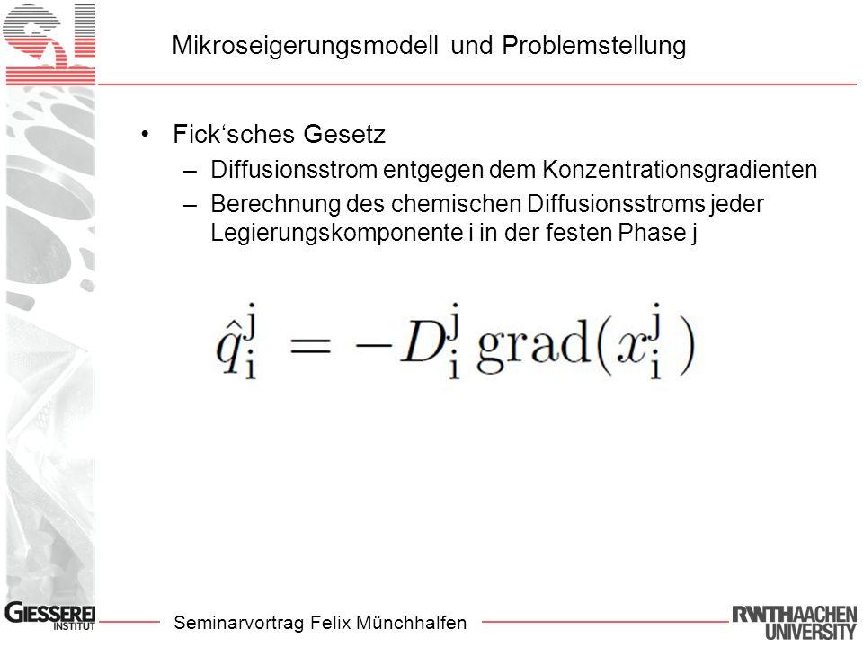 Seminarvortrag Felix Münchhalfen Mikroseigerungsmodell und Problemstellung Fick'sches Gesetz –Diffusionsstrom entgegen dem Konzentrationsgradienten –Berechnung des chemischen Diffusionsstroms jeder Legierungskomponente i in der festen Phase j