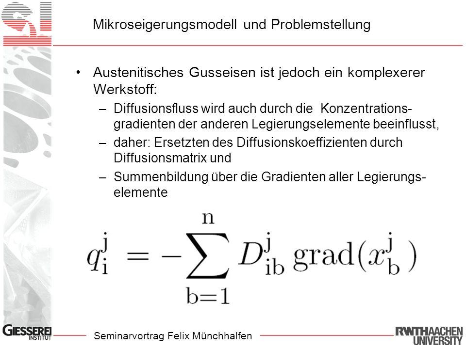 Seminarvortrag Felix Münchhalfen Mikroseigerungsmodell und Problemstellung Austenitisches Gusseisen ist jedoch ein komplexerer Werkstoff: –Diffusionsfluss wird auch durch die Konzentrations- gradienten der anderen Legierungselemente beeinflusst, –daher: Ersetzten des Diffusionskoeffizienten durch Diffusionsmatrix und –Summenbildung über die Gradienten aller Legierungs- elemente